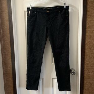 Zara Woman Black Textured Ankle Zip Jeans size 12